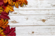 Fall and Autumn leaves on a whitewashed wood plank board