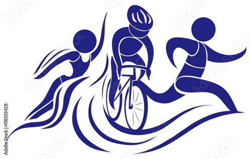 Sport icon for triathlon in blue color Wallpaper Mural