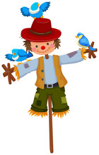 Scarecrow On Stick With Blue Birds