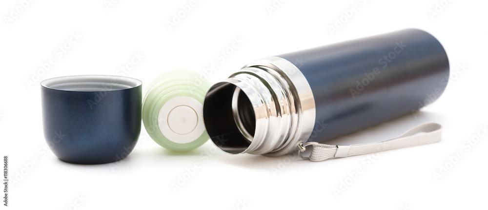 Fototapeta blue vacuum tumbler on a white background