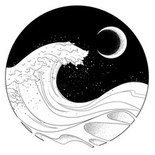 The Wave At Moon Night. Sketch Artwork, Creative Idea, Innovative Art, Concept Illustration, Tattoo Design.