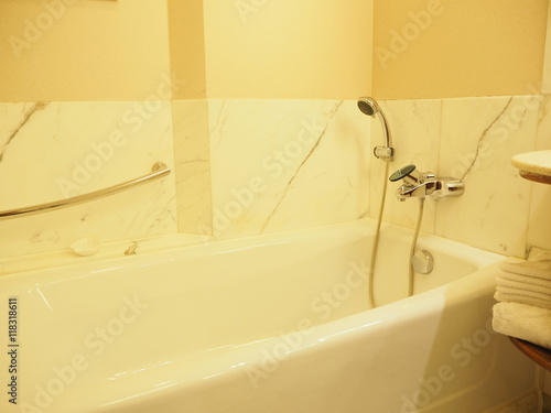 Shower and bathtub, warm tone
