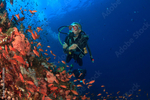 Scuba dive coral reef underwater ocean sea
