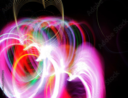 Light motion on the dark background and copy space Poster