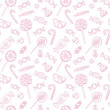 Vector  Seamless Doodle Pattern With Candies And Lollipops