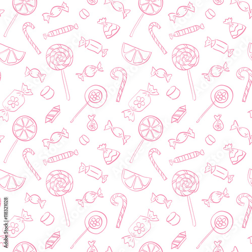 fototapeta na ścianę Vector seamless doodle pattern with candies and lollipops