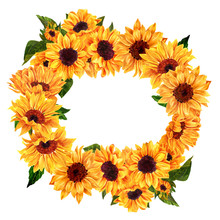 Yellow Watercolor Sunflowers Wreath On White Background