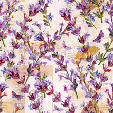 Seamless Pattern With Lavender Flowers And Old Ephemera