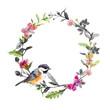 Border wreath - bird, meadow flowers, butterflies. Black white watercolor circle