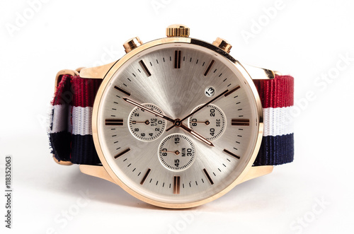 Men's mechanical watch on white background