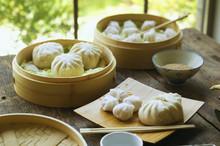 Asian Dumpling In Steamer With...