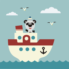 Fototapeta Funny panda bear sailor on bridge of ship. Icon sea travel.