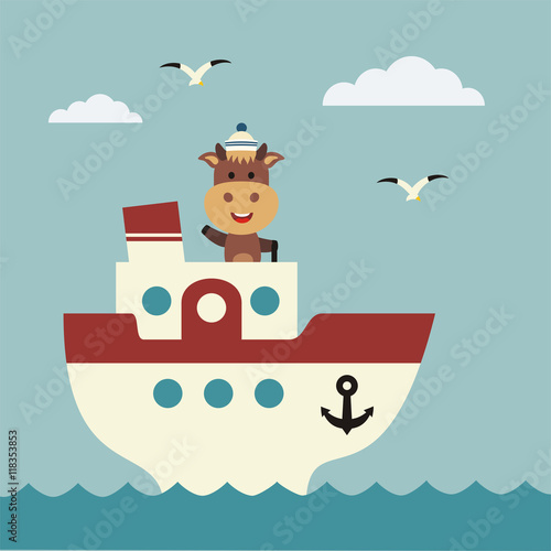 Fotografia  Funny cow sailor on bridge of ship. Icon sea travel.