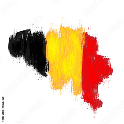 Photo Grunge map of Belgium with Belgian flag