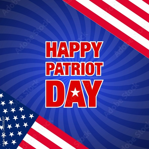 Poster  vector illustration with happy patriot day greeting card and usa flag on sunburs