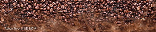 Poster Café en grains Coffee beans in a panoramic image