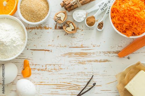 Obraz Ingredients for baking carrot cake - fototapety do salonu