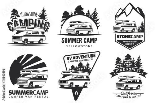 Set of monochrome camper van car logo, emblems and badges. Fototapeta