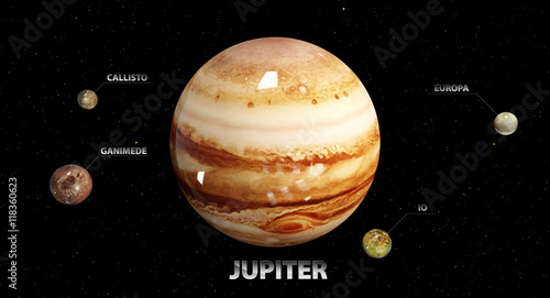 Fotografie, Obraz  3d illustration of Jupiter's moons and star. Elements of this im