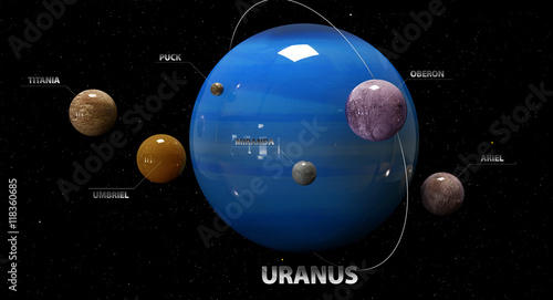Photo  3d illustration of Uranus's moons and star. Elements of this ima