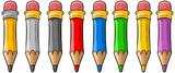 Cartoon set of cool color wooden pencils