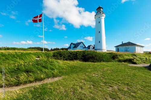 Obraz na płótnie white lighthouse in nature, landscape of Denmark