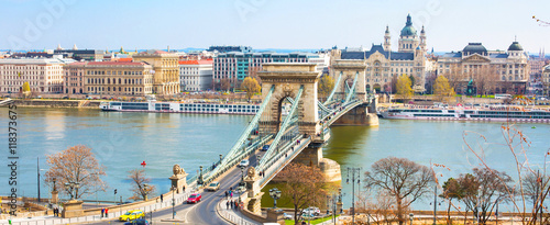 Landmark of Budapest, Szechenyi Chain Bridge, river Danube, houses panorama