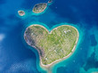 canvas print picture - Aerial view of the heart shaped Galesnjak island on the adriatic coast.