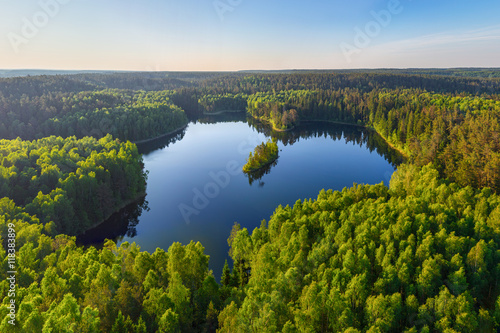 Poster de jardin Lac / Etang Forest lake (aerial photo)