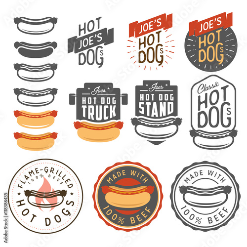 Fotografia, Obraz Set of vintage hot dog labels, badges, emblems and design elements