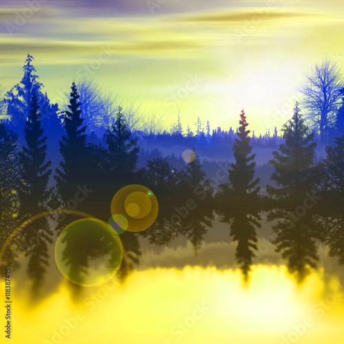 Aluminium Prints Yellow beautiful landscape