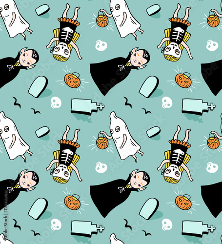 Cotton fabric Halloween seamless pattern. Vector background with children in costumes. Illustration with vampire, ghost and skeleton.