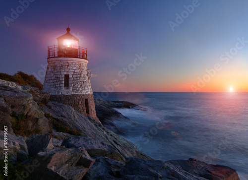 Photo sur Toile Phare Castle Hill lighthouse