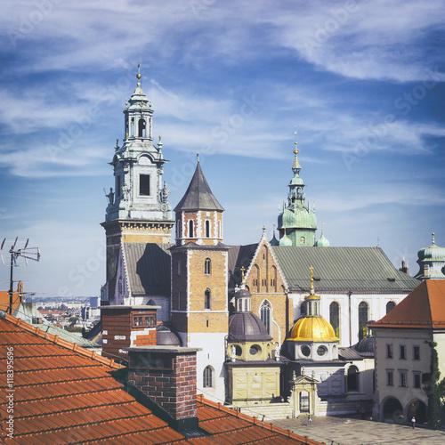Fototapeta View of Wawel Royal Cathedral (Katedra Wawelska) from the castel tower, Wawel Hill, Krakow obraz