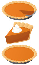 Vector Illustration Of A Pumpkin Pie: A Whole Pie, A Slice, And A Whole Pie With A Slice Missing.