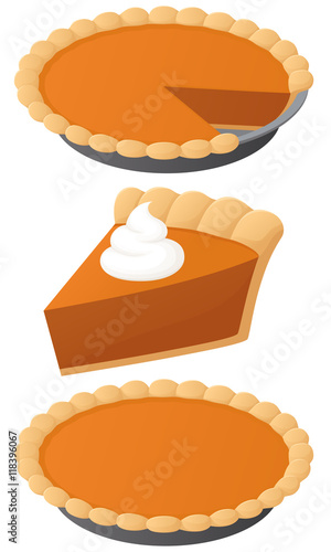 Valokuvatapetti Vector illustration of a pumpkin pie: a whole pie, a slice, and a whole pie with a slice missing