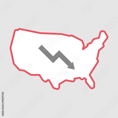 Isolated Line Art Usa Map Icon With A Descending Graph Buy This