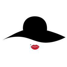 Woman, Lady Vector Icon With Hat And Lips.