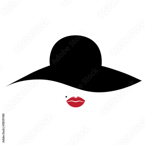 Fototapeta Woman, lady vector icon with hat and lips. obraz