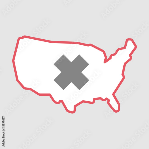 Isolated line art USA map icon with an irritating substance ...