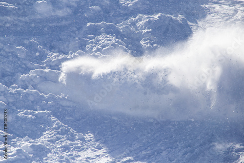 Tela an avalanche in the mountains in winter