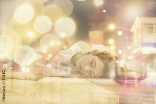 Fototapety, obrazy: Mixed race girl dreaming of city at night