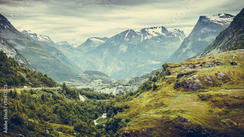 Keuken foto achterwand Bergen mountains landscape in Norway.