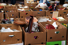 Many Cardboard Boxes With Used...