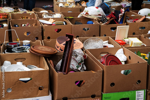 Obraz many cardboard boxes with used stuff for sale at the flea market - fototapety do salonu