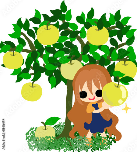 Aluminium Prints Magic world A cute little girl and the tree of delicious pears