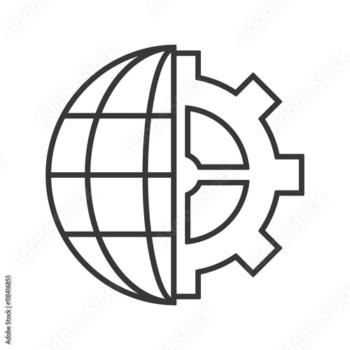 Flat Design Earth Globe Diagram And Gear Icon Vector Illustration