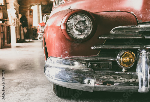 Poster Vintage voitures Headlight lamp vintage car - vintage filter effect