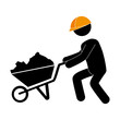 builder construction under working foreman cart construction helmet work vector illustration isolated