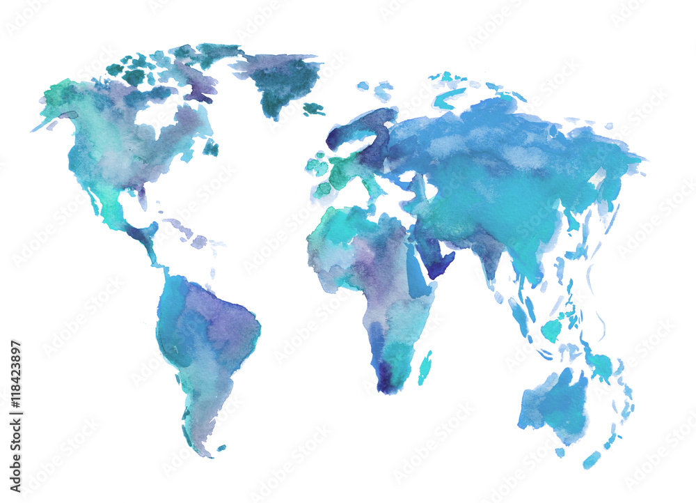 Photo  Watercolor blue world map